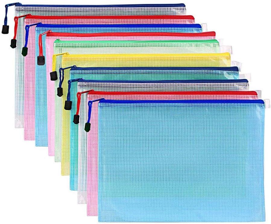 Pack of 100pcs Comix Eh303h File Protection Bag A4 11 Holes Color:Red,Orange,Blue,Green Color Random