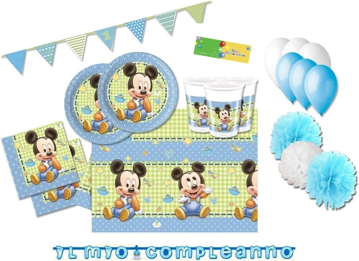 Kit N 55 Addobbi Festa Primo Compleanno Topolino Baby Disney Coordinato Amazon It Giochi E Giocattoli