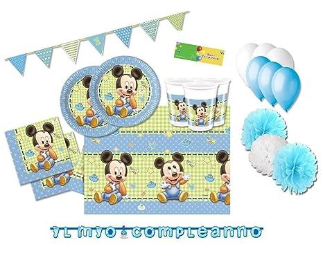 Kit N 55 Addobbi Festa Primo Compleanno Topolino Baby Disney