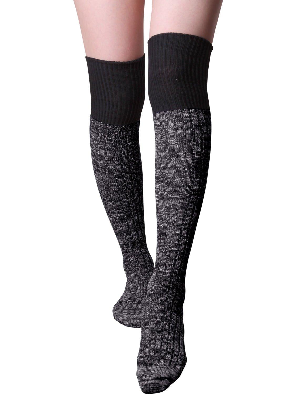 HASLRA Women's Crochet Slouch Top Over The Knee Boot Socks 1 Pair (BLACK)