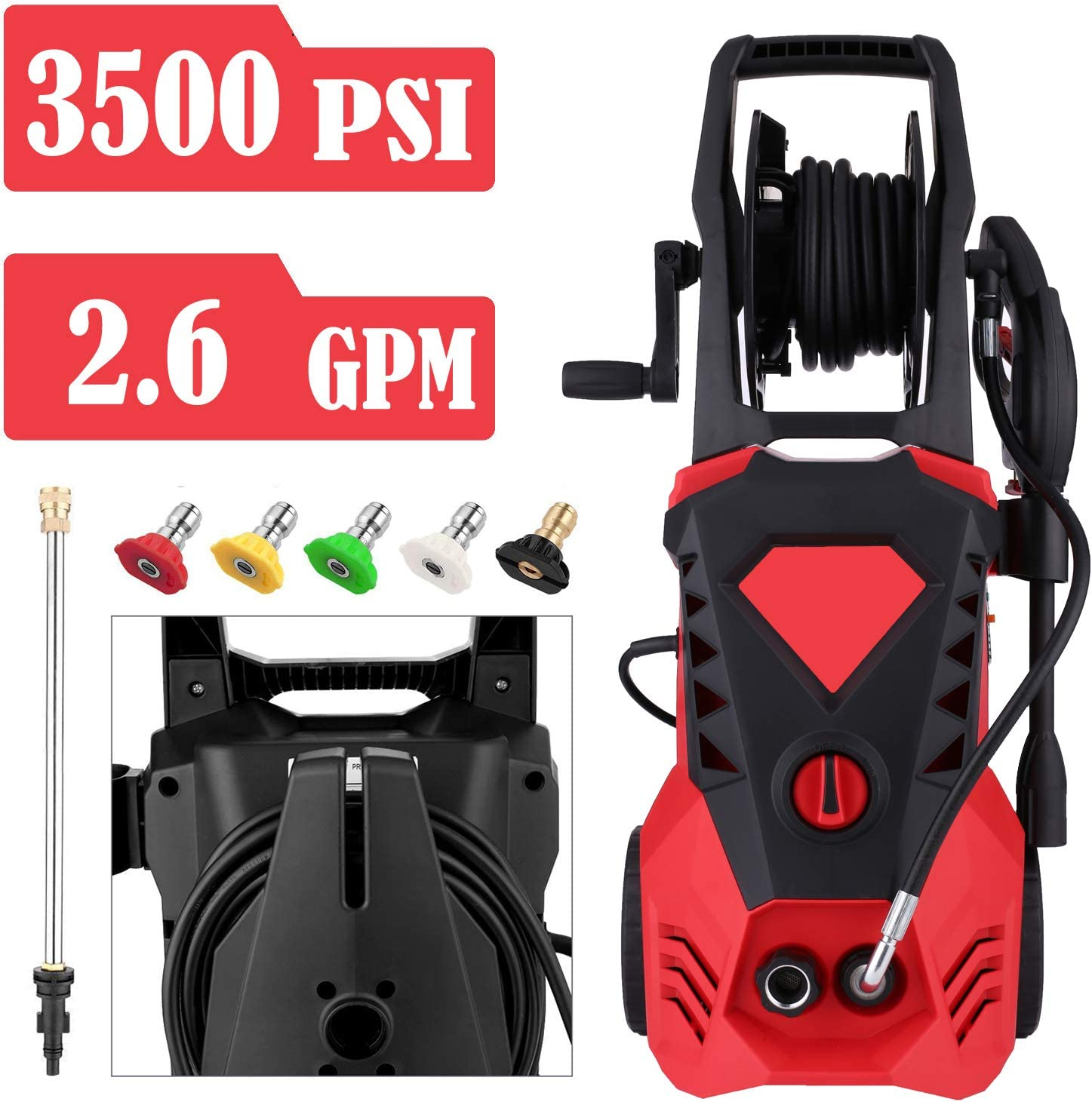 Power Washer 3500 PSI 2.6 GPM Electric Pressure Washer with Spray Gun