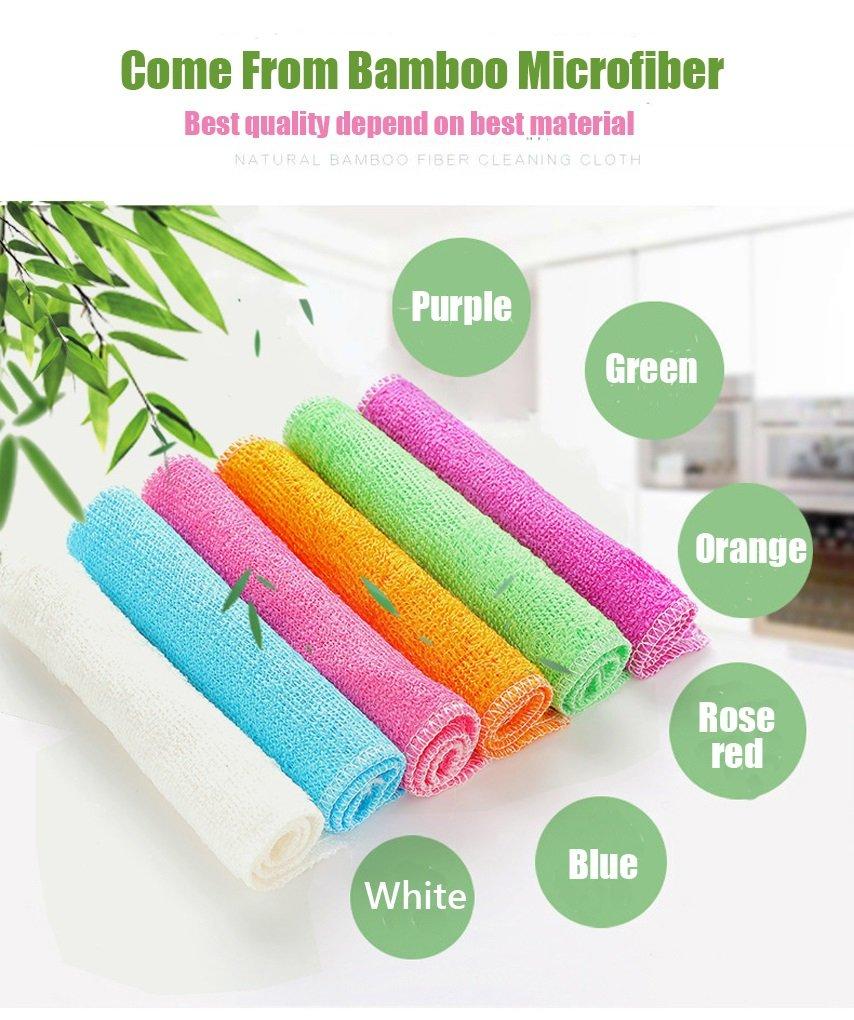 Strofinaccio da cucina colorato ecologico per lavaggio piatti pi/ù durevole del cotone confezione da 6 pezzi ipoallergenico Colour- Green in microfibra 100/% bamb/ù super assorbente 18,2/x 23/cm