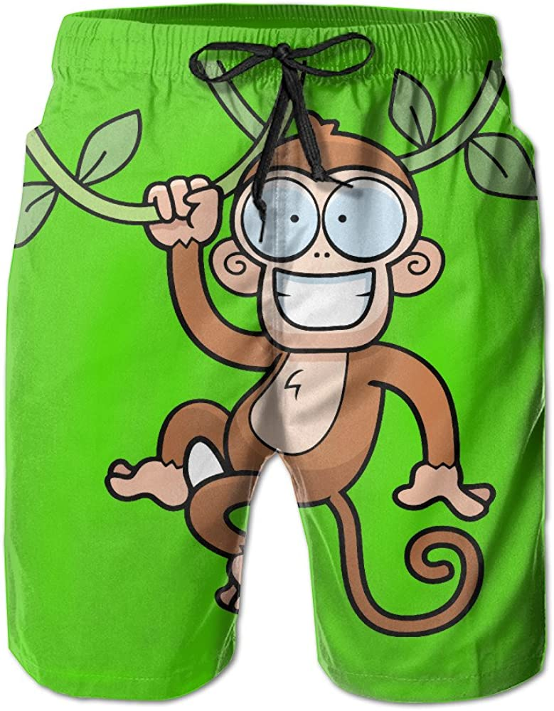 ONE-HEART-HR Mens Monkey Hanging from Vines Swim Trunk Board Short Beach Shorts