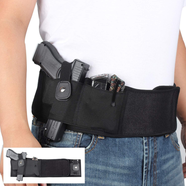 SIZIMA Ultimate Belly Band Holster para Transporte Oculto, Funda de Pistola elástica Dentro de la Cintura para Pistola, Pistola, revólveres, Glock para Hombres Mujeres, Mano Derecha