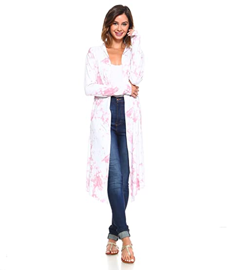 4149b598ba9 Isaac Liev Women's Tie Dye Extra Long Lightweight Duster Cardigan (Large,  Marsalla & White) at Amazon Women's Clothing store: