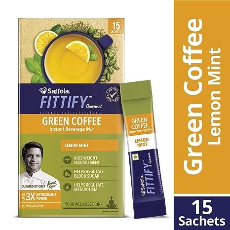 Saffola FITTIFY Gourmet Green Coffee Instant Beverage Mix - 30 g (Lemon Mint, 15 Sachets)