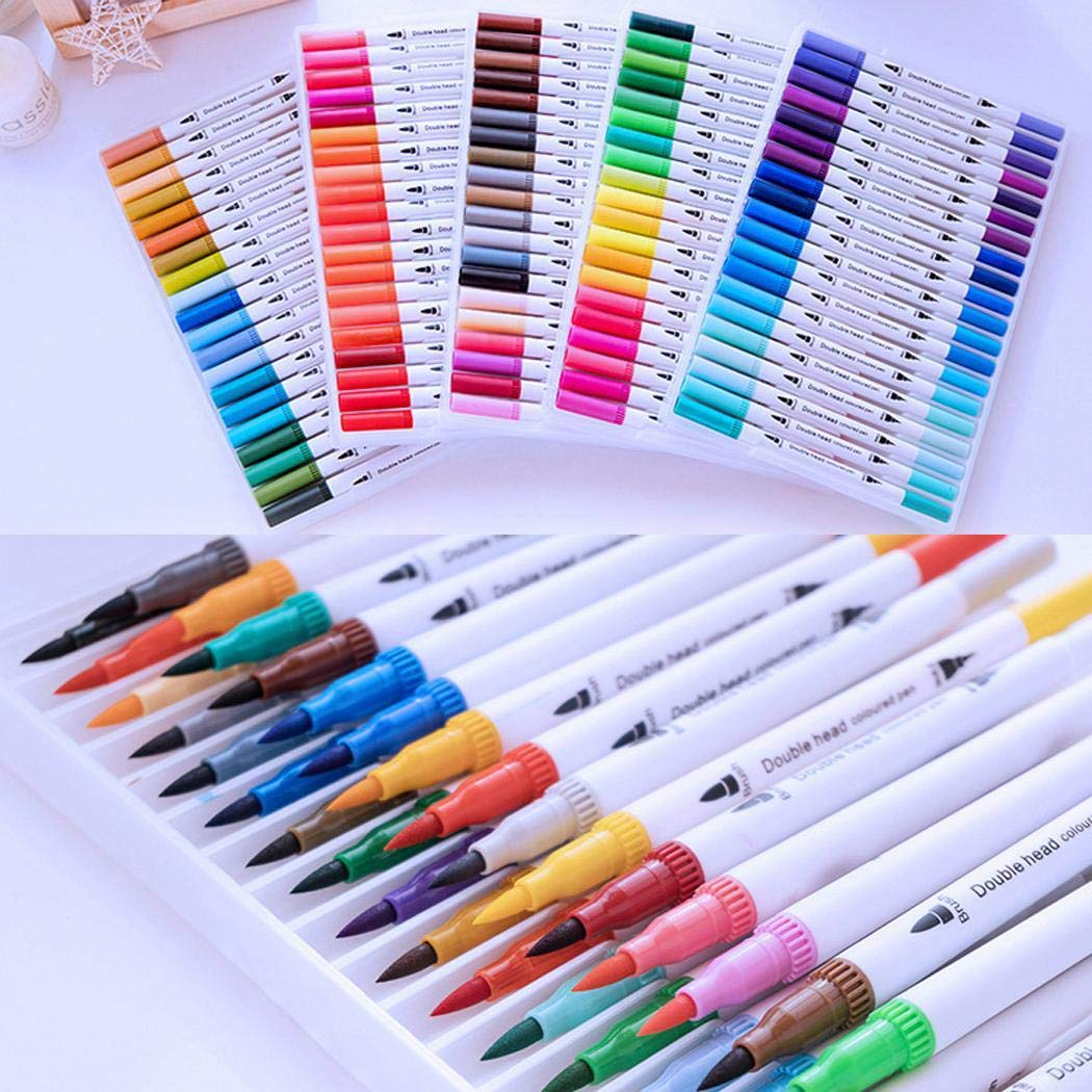 Youandmes 48 Colors/Set Dual Tip Brush Watercolor Paint Pens, 48 Colors atercolor Paint Pen Marker Painting Graffiti Stationery Set for Adult Students Coloring Books Craft Doodling