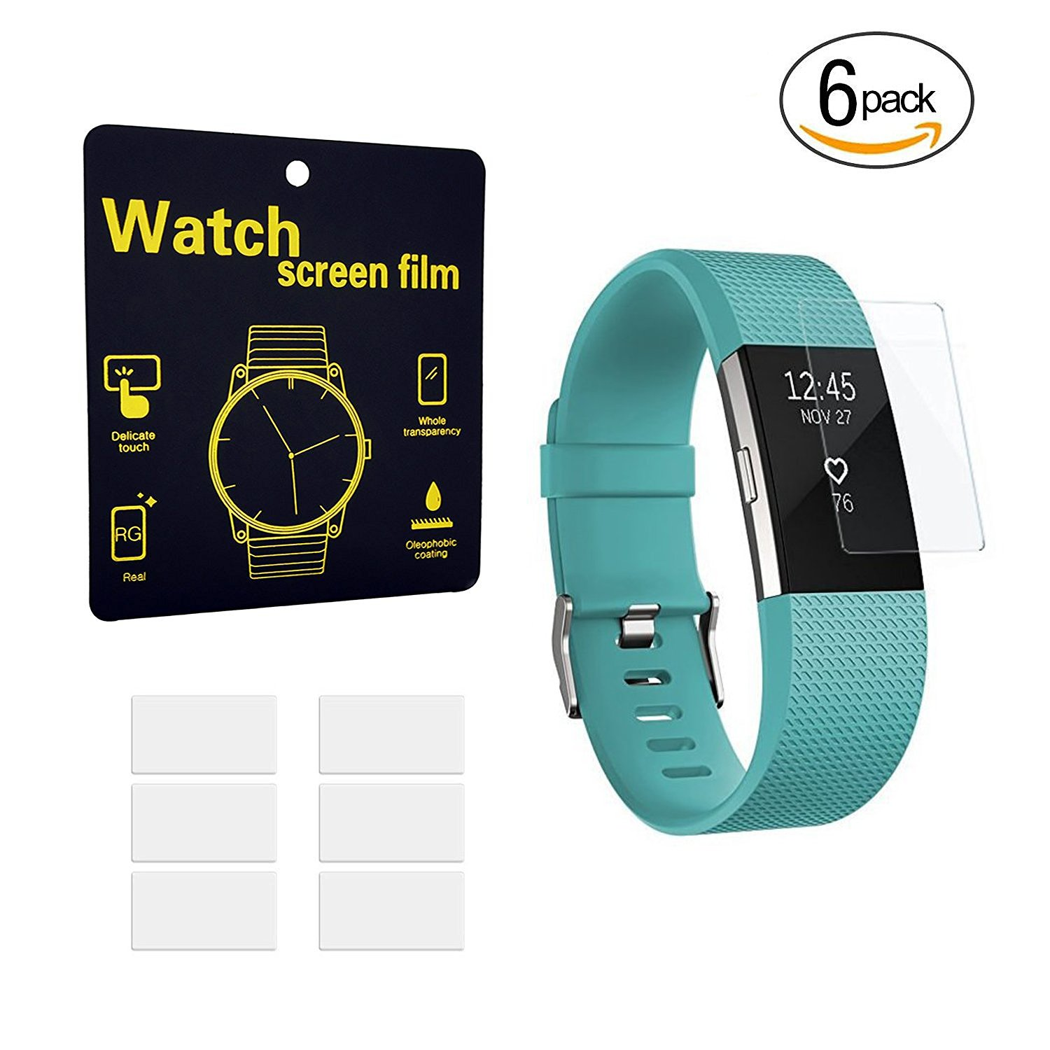 Amazon.com : Fitbit Charge 2 Screen Protector (6-Pack), Ztotop Full ...
