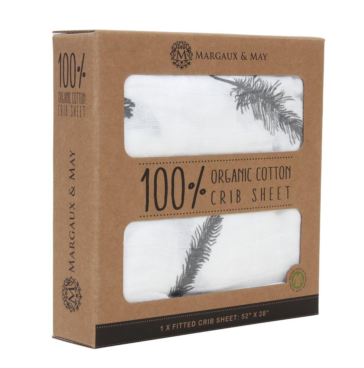 amazoncom margaux u0026 may organic cotton fitted crib sheet grey feather home u0026 kitchen