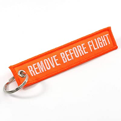 Rotary13B1 Remove Before Flight Keychain - NEON Orange/White: Automotive