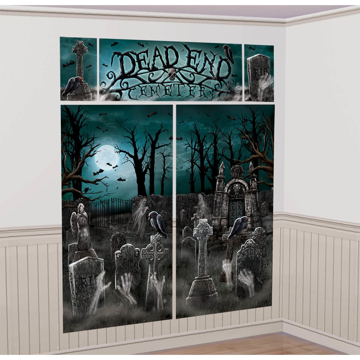 cemetery scene setters halloween wall decorating kit amazoncom grocery gourmet food