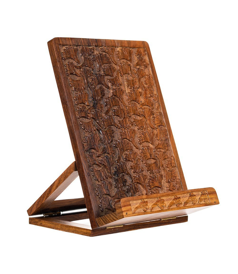 Ornate Adjustable Hand carved Sheesham Wood Cookbook Stand/Recipe/Book/iPad/Tablet Stand Holder with Gingko Leaf Motif 7.5 in x10.5 in by Matr Boomie