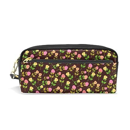 COOSUN - Estuche portátil de piel sintética con diseño de rosas y ...