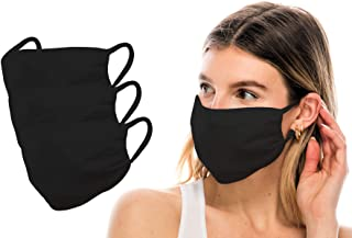 product image for Kurve 3 Pieces Fashion Protective Face Masks, Unisex Nylon Spandex Mouth Masks, Washable, Breathable, Reusable Masks, Made in U.S.A. - Black