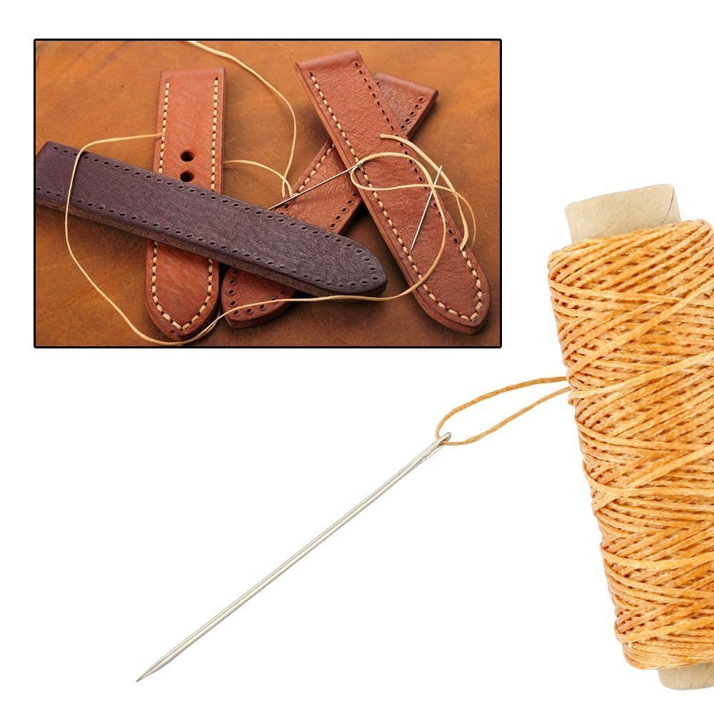 14 Pieces Sewing Needles with Leather Waxed Thread Cord Drilling Awl and Thimble for Leather Repair