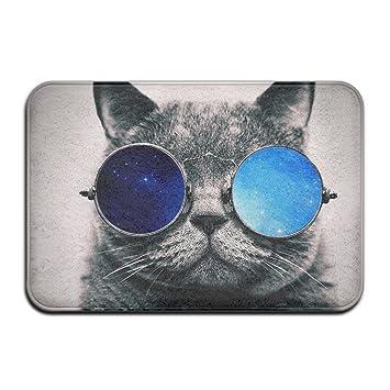GHNN Mat Galaxy Gafas de Sol Gato casa Felpudo Alfombrilla de Suelo 4060 Antideslizante: Amazon.es: Jardín
