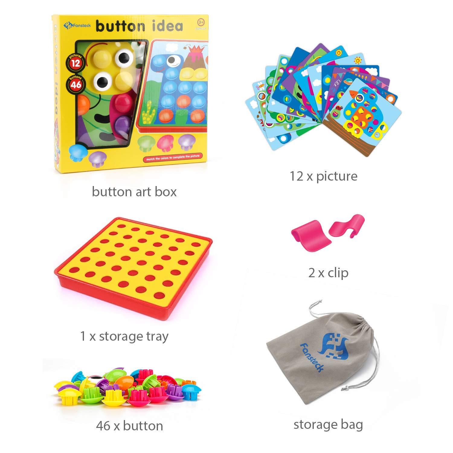 Safe Nontoxic ABS Plastic Premium Material Color Matching Early Learning Educational Mosaic Pegboard Fansteck Button Art Toy for Toddlers with a Bag Easy to Storag 12 Pictures and 46 Buttons