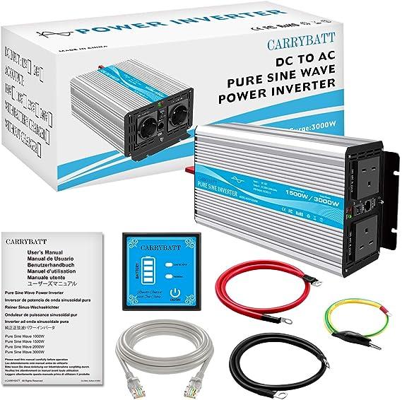 Carrybatt Pure Sinus Wechselrichter 1500w Dc 12v Zu Ac 240v Wandler Mit 5 Meter Fernbedienung Mit Doppeltem Ac Ausgang Und 2 1a Usb Port Spitzenleistung 3000 Watt Auto