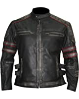 Men's Retro Vintage Distressed Black Motorcycle Synthetic Leather Jacket