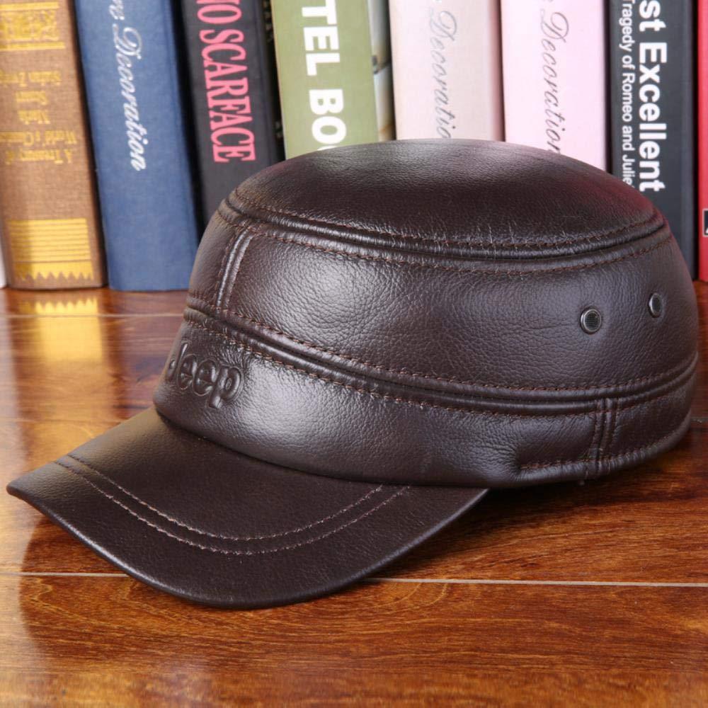 Krgvxfs Spring Man Genuine Leather Baseball Caps Male Casual Cowhide Hat Earmuffs Warm Adjustable Hats