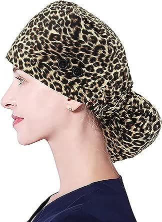 I@U Gorra de trabajo ajustable con botones, banda para el sudor de algodón para coleta de caballo de pelo largo, sombreros para mujeres y hombres