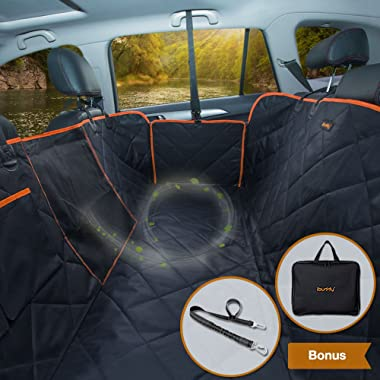 iBuddy Dog Car Seat Covers Back Seat Cars/Trucks/SUV, Waterproof Dog Car Hammock Mesh Window, Side Flaps, Durable Anti-Scratch Nonslip Machine Washable Pet Car Seat Cover
