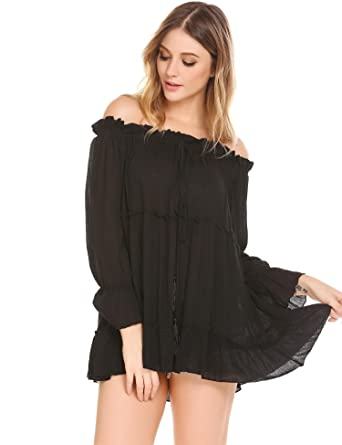 f75cfbc3b8d Elover Womens Off Shoulder Tops Shirt Loose Long Sleeve Chiffon Ruffled Sexy  Blouse at Amazon Women's Clothing store: