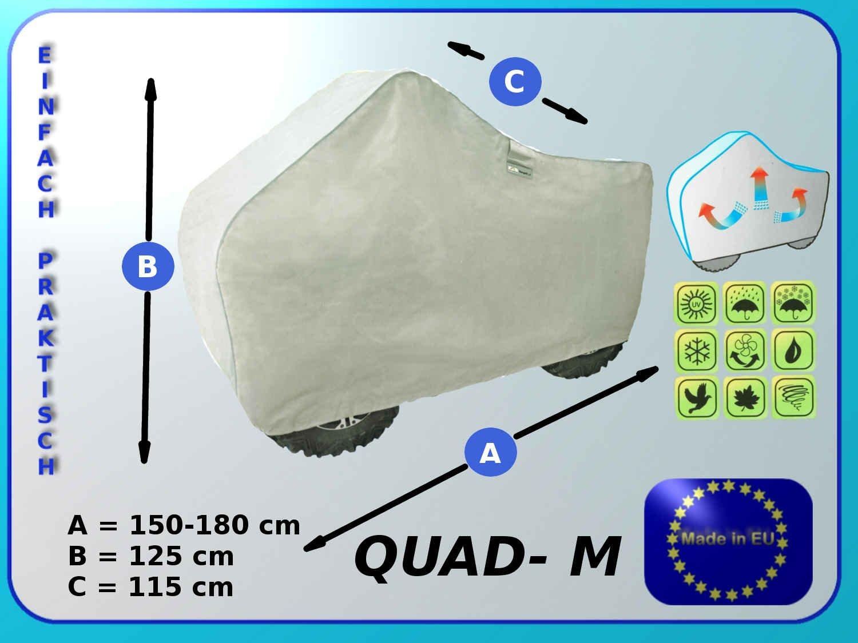 bis 115 cm H/öhe Quadgarage 125cm L/änge 155-180cm Abdeckung f/ür ein Quad Gr/ö/ße M Breite