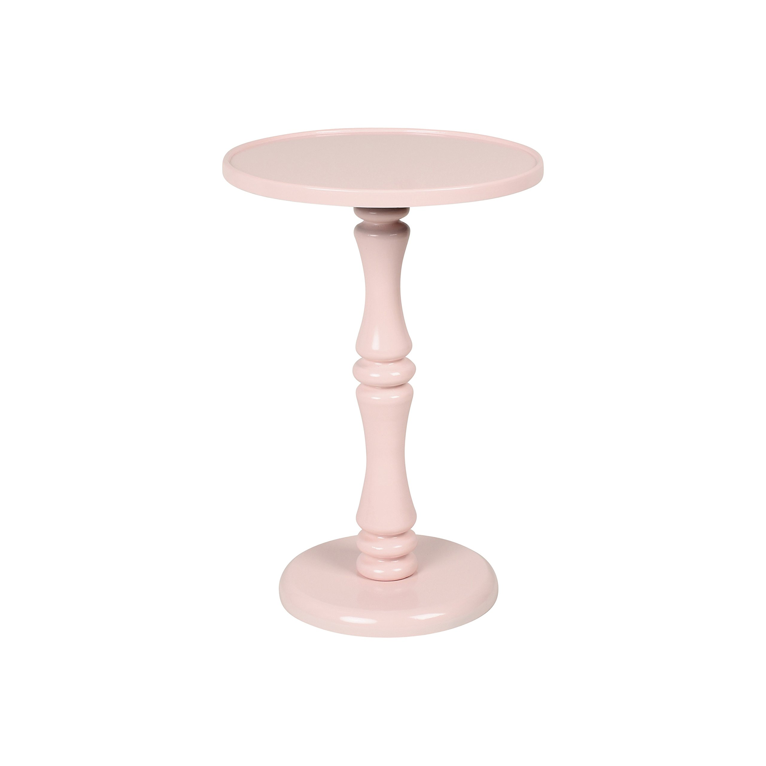 Kate and Laurel Rumi Round Wood Pedestal Accent Table, Pink