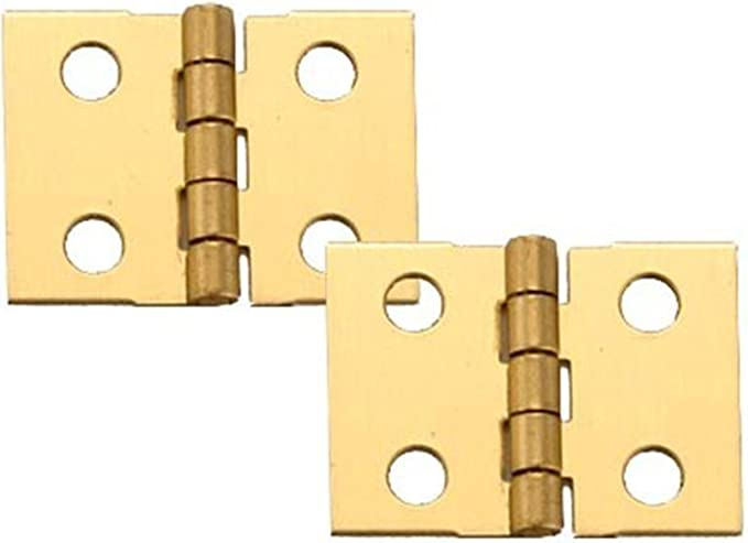 """4 Vintage SOLID BRASS Butt Hinges w// Screws 3//4/"""" x 5//8/"""" Small Cabinet Door Chest"""