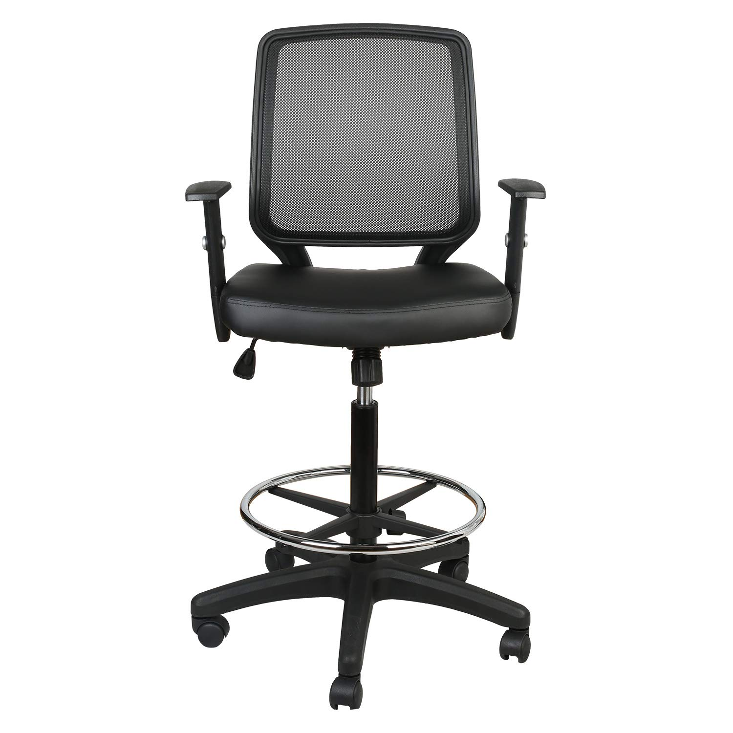 LUCKWIND Office Drafting Chair Mesh - Adjustable Arm Task Ergonomic Lumbar Support MidBack Computer Desk Chair Swivel Chair with Adjustable Chrome Foot Rest (SGS-BIFMA) Tilt Control 330lbs (Black Pu) by LUCKWIND