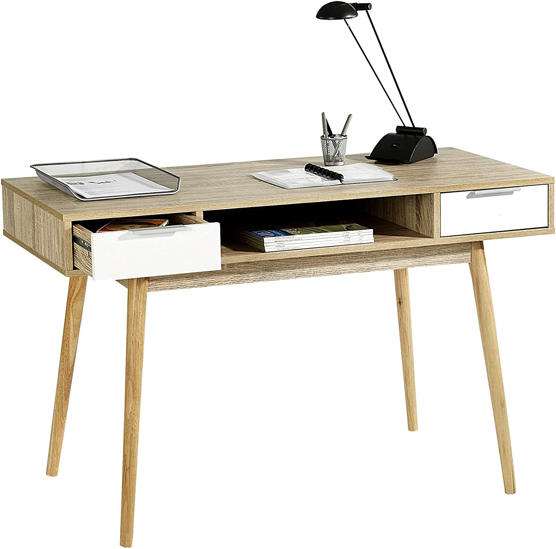 Mesa auxiliar estilo escandinavo (Newport) - 2 cajones de melamina ...