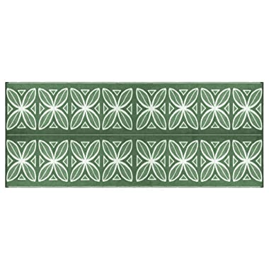 Camco Large Reversible Outdoor Patio Mat - Mold and Mildew Resistant, Easy to Clean, Perfect for Picnics, Cookouts, Camping, and The Beach (8' x 20', Green Botanical Design) (42830)