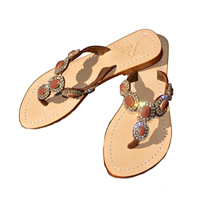 327d341d1 PASHA Blow Out Sale APIA Crystal Jeweled Leather Sandals (5) Brown