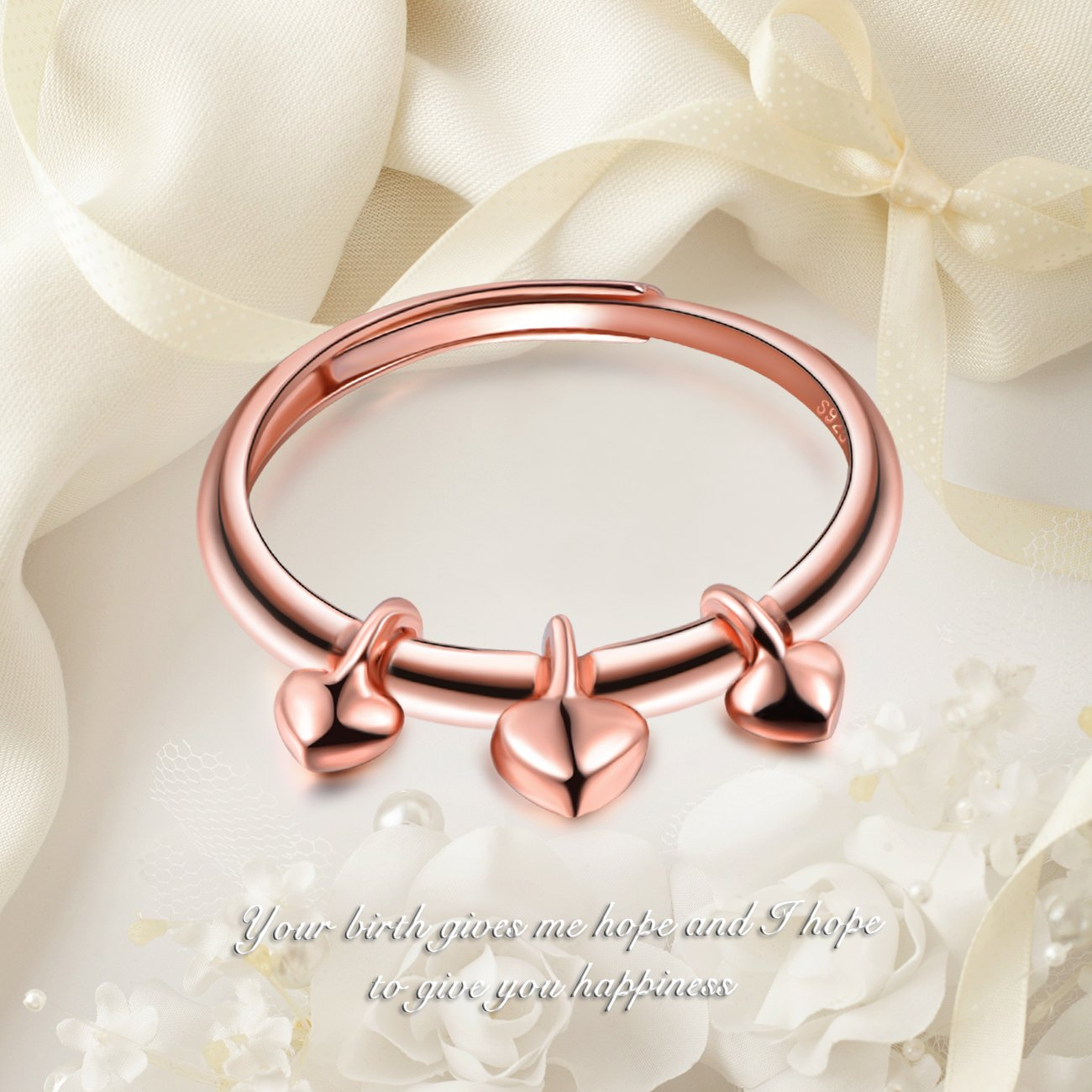 Rose Gold Plated Yumilok Jewelry 925 Sterling Silver Classic Hearts Polished Adjustable Ring for Women//Girls