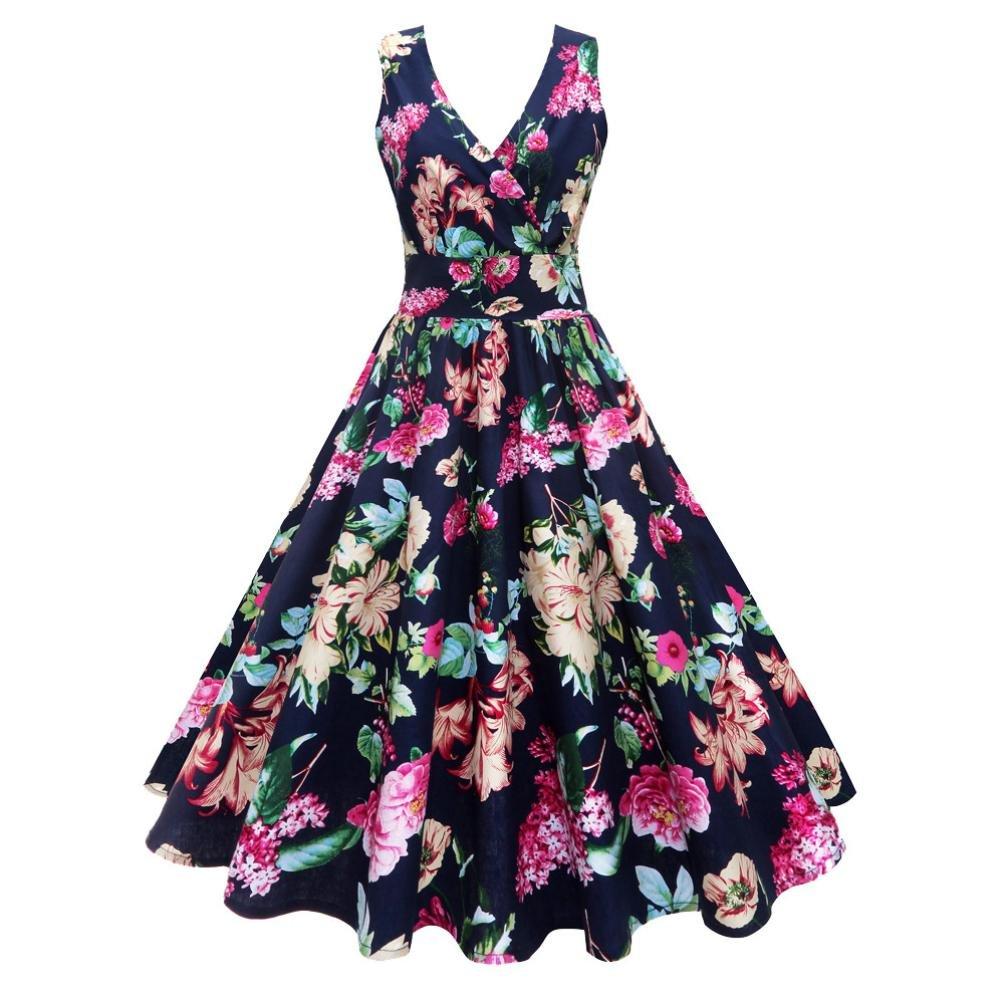 Vestidos Mujer Verano 2018,Las mujeres más el tamaño floral de impresión Vintage vestido sin mangas fiesta de baile Swing Vestido LMMVP (Armada, ...