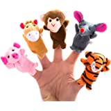 Better line ® 20 Piece Story Time Finger Puppets Set - Cloth Puppets with 14 Animals Plus 6 People Family Members