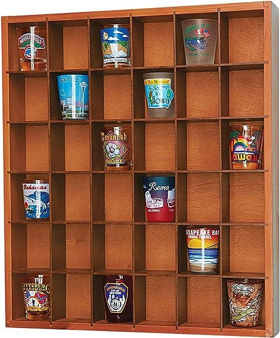 24 Shot Glass Display Shelf Wall Organizer Ready To Finish Unfinished Solid Wood