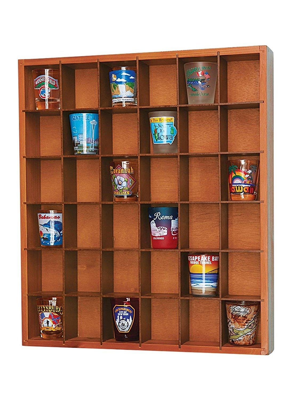 Wood Shot Glass Wall Curio Display Case - Natural JUMBL 5428N