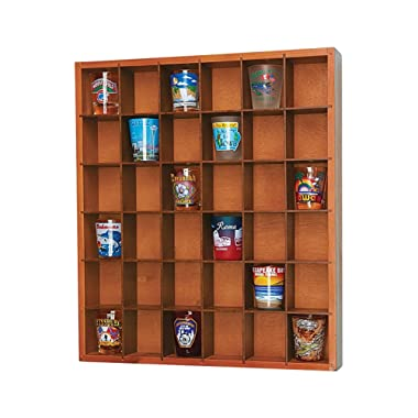 Jumbl Wood Shot Glass Wall Curio Display Case - Natural,16.5
