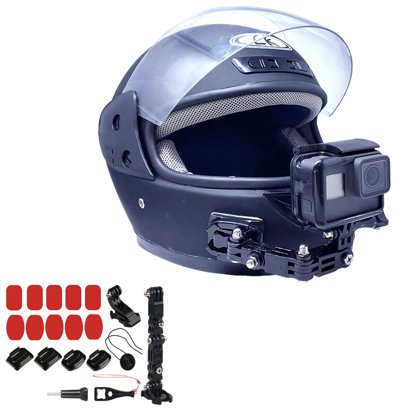 XBERSTAR Adhesive Front Full Face Helmet Chin Jaw Swivel Arm Mount for Gopro Hero 6 5 4 3 Xiaomi Yi Action Cameras