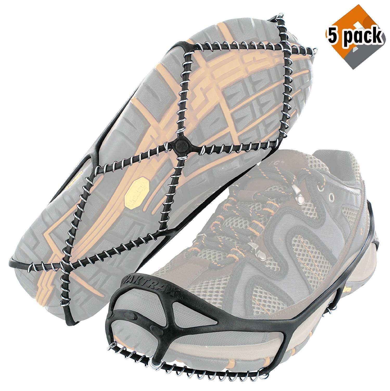 Yaktrax Walk Traction Cleats for Walking on Snow and Ice (1 Pair), Small - 5 Pack by Yaktrax