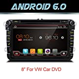 Android 6.0 Quad Core WIFI modelo coche reproductor de DVD GPS 2 DIN 8 pulgadas para Volkswagen VW Skoda Polo Passat B6 Cc Tiguan Golf 5 Fabia apoyo espejo link/OBD2/subwoofer/bluetooth