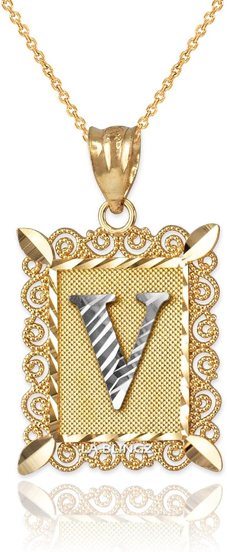 LA BLINGZ 14K Yellow Gold Filigree Alphabet Initial Letter V DC Pendant Necklace