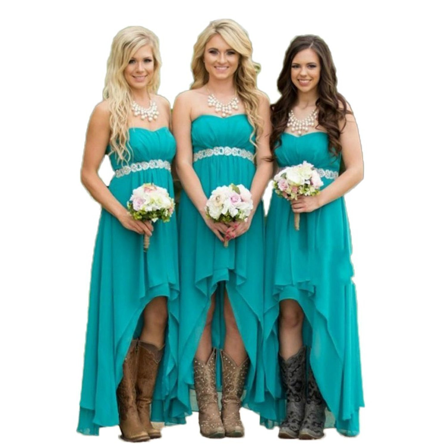Amazon.com: Fanciest Women\' Strapless High Low Bridesmaid Dresses ...