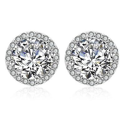 e4cde5fd261e Silver Cubic Zirconia Stud Earrings - 925 Sterling Silver Swarovski Crystal  Round Diamond Rhinestone CZ Halo