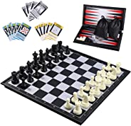 iBaseToy 3 in 1 Magnetic Travel Chess Set 2.0 Upgraded Version for Kids and Adults, Chess Checkers Backgammon Set with a Lar