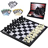iBaseToy 3 in 1 Magnetic Travel Chess Set 2.0 Upgraded Version for Kids and Adults, Chess Checkers Backgammon Set with a Larg