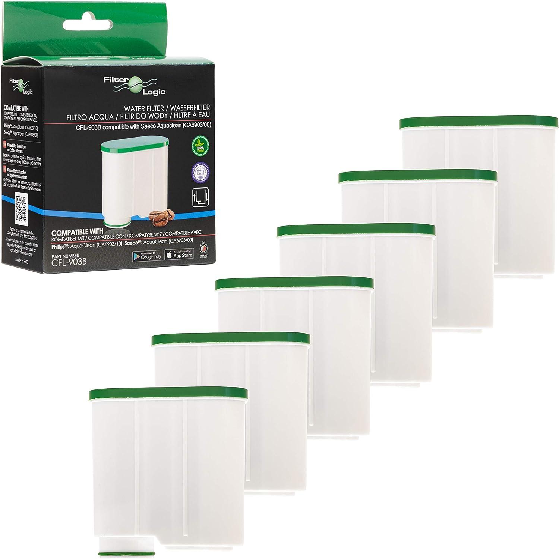 FilterLogic CFL-903B | Paquete de 6 - Filtro de agua antical compatible con Philips AquaClean CA6903/10 CA6903/22 CA6903 Cartucho filtrante Aqua Clean para máquina cafetera de café y espresso: Amazon.es: Hogar