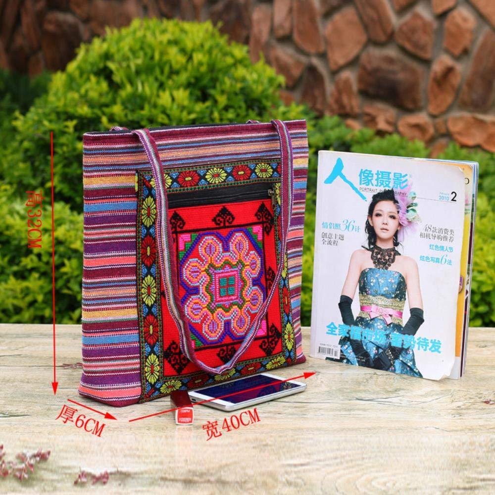 Csqw Broderi axelväska broderad väska kanvas handväska kvinnors axelväska horisontell fyrkantig typ c